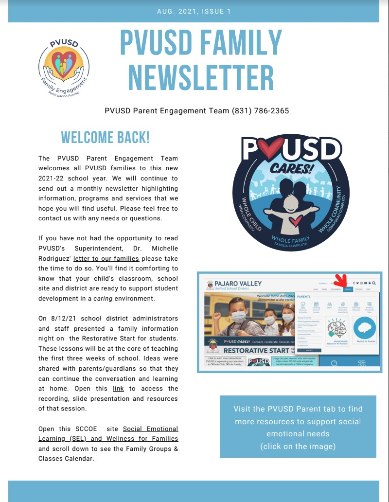 PVUSD Family Newsletter August 2021