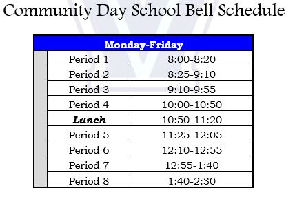 Community Day Bell Schedule