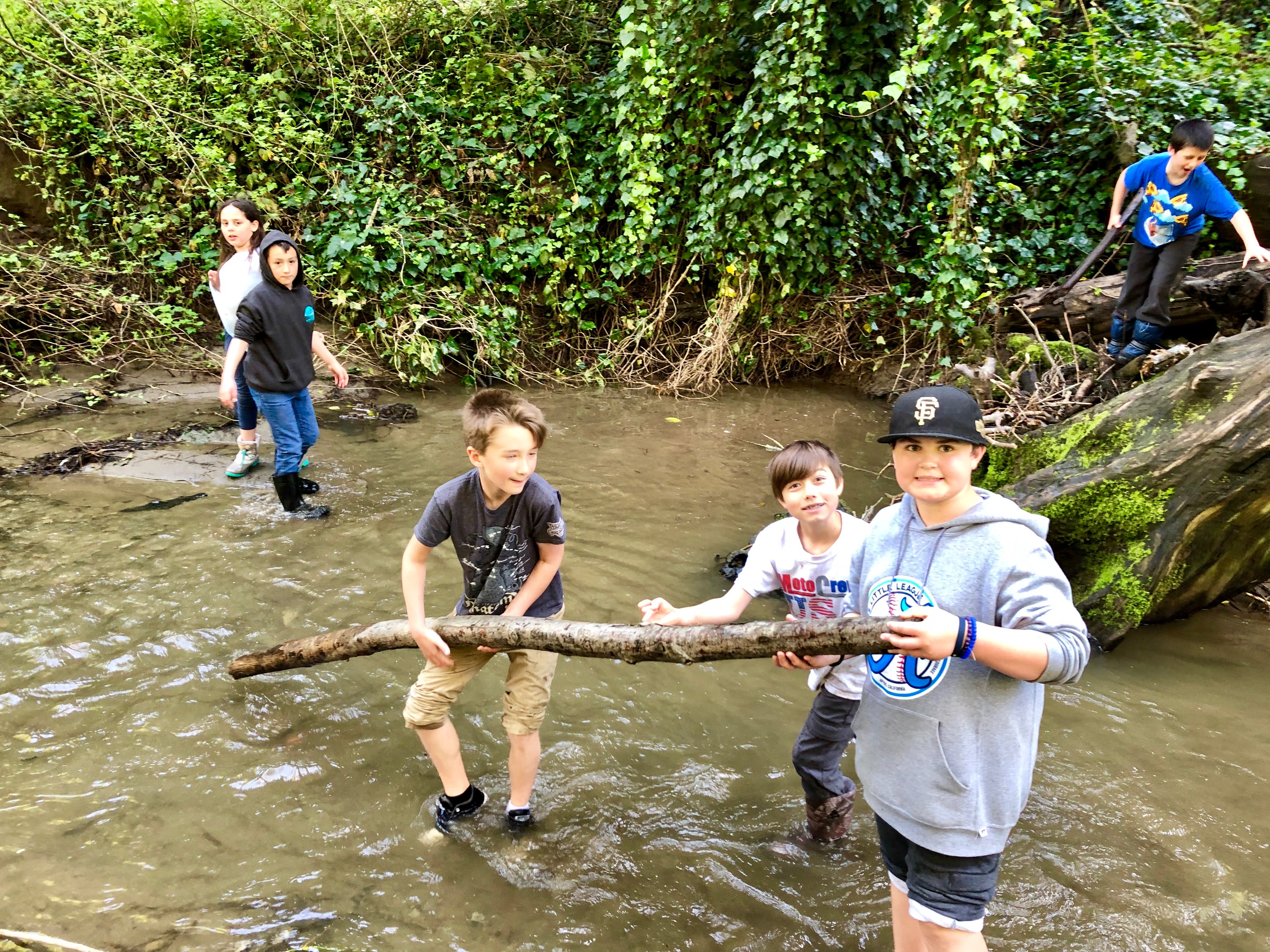 Working together at the creek