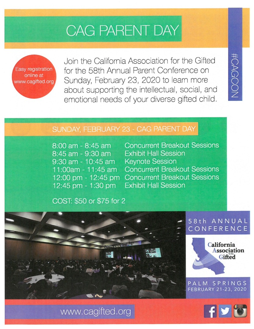 CAG Parent Day Flyer