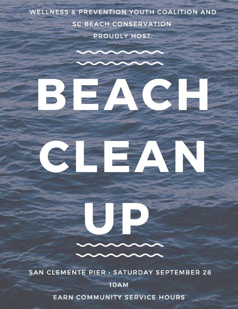 Beach Clean Up on September 28 at 10am at the San Clemente Pier