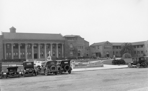 Front of Venice High with Model T Cars