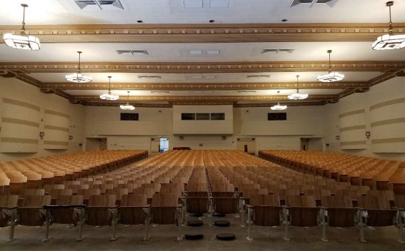 Interior of historic school auditorium