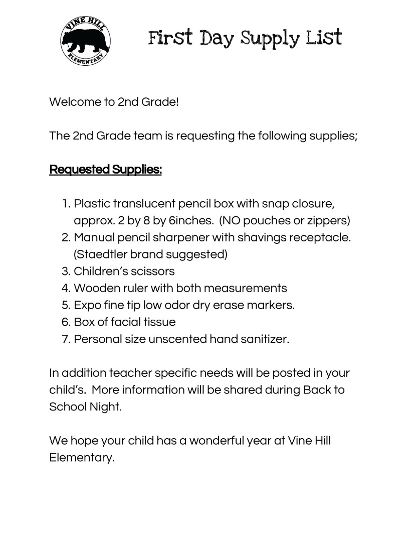 2nd grade 1st day supply list