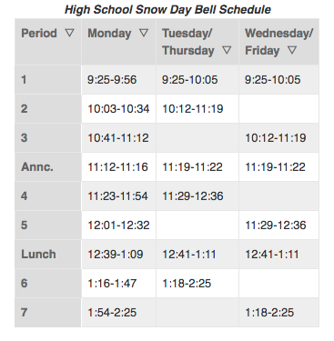 snow day bell schedule