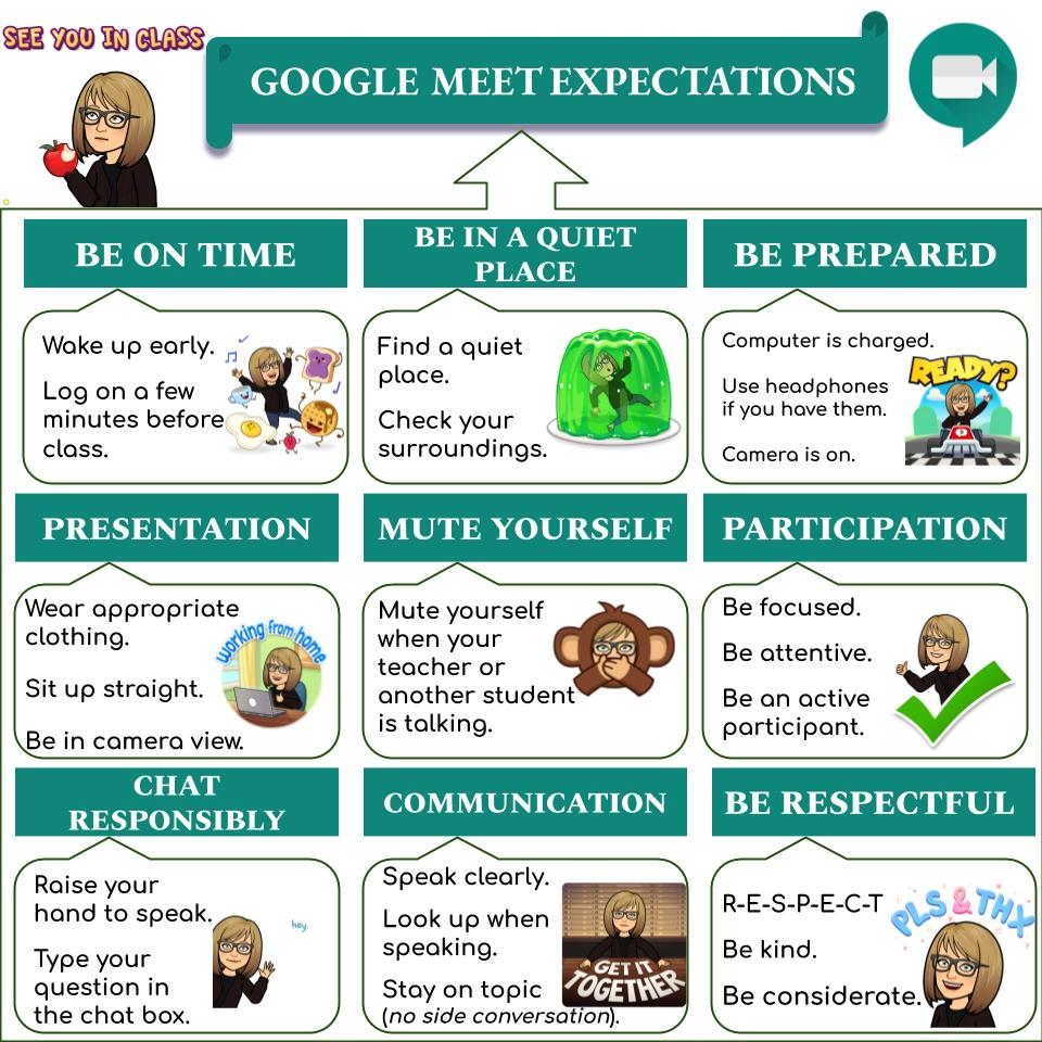 graphic for Google Meet expecatations