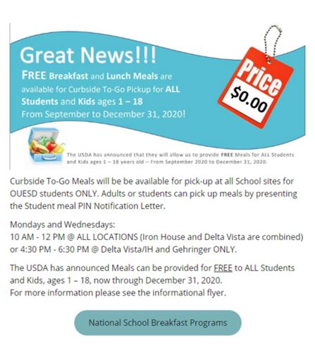 Free Breakfast and Lunch Meals for OUESD Students