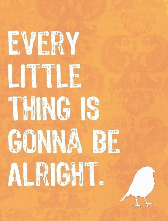 Orange background with words every little thing is gonna be alright and a bird