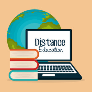 computer, world, books with words Distance Education