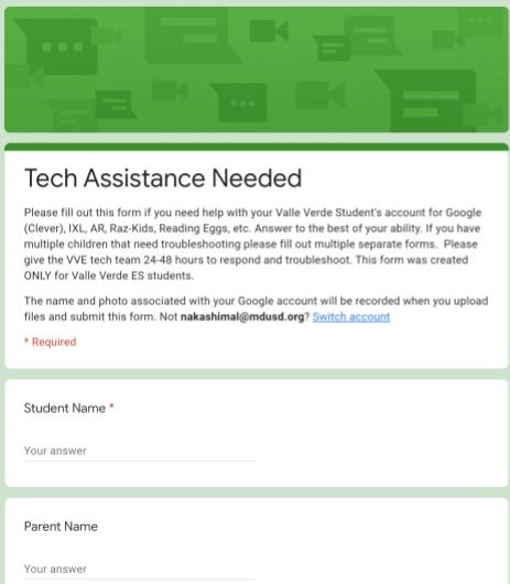 Technical assistance form to help troubleshoot any technical issues