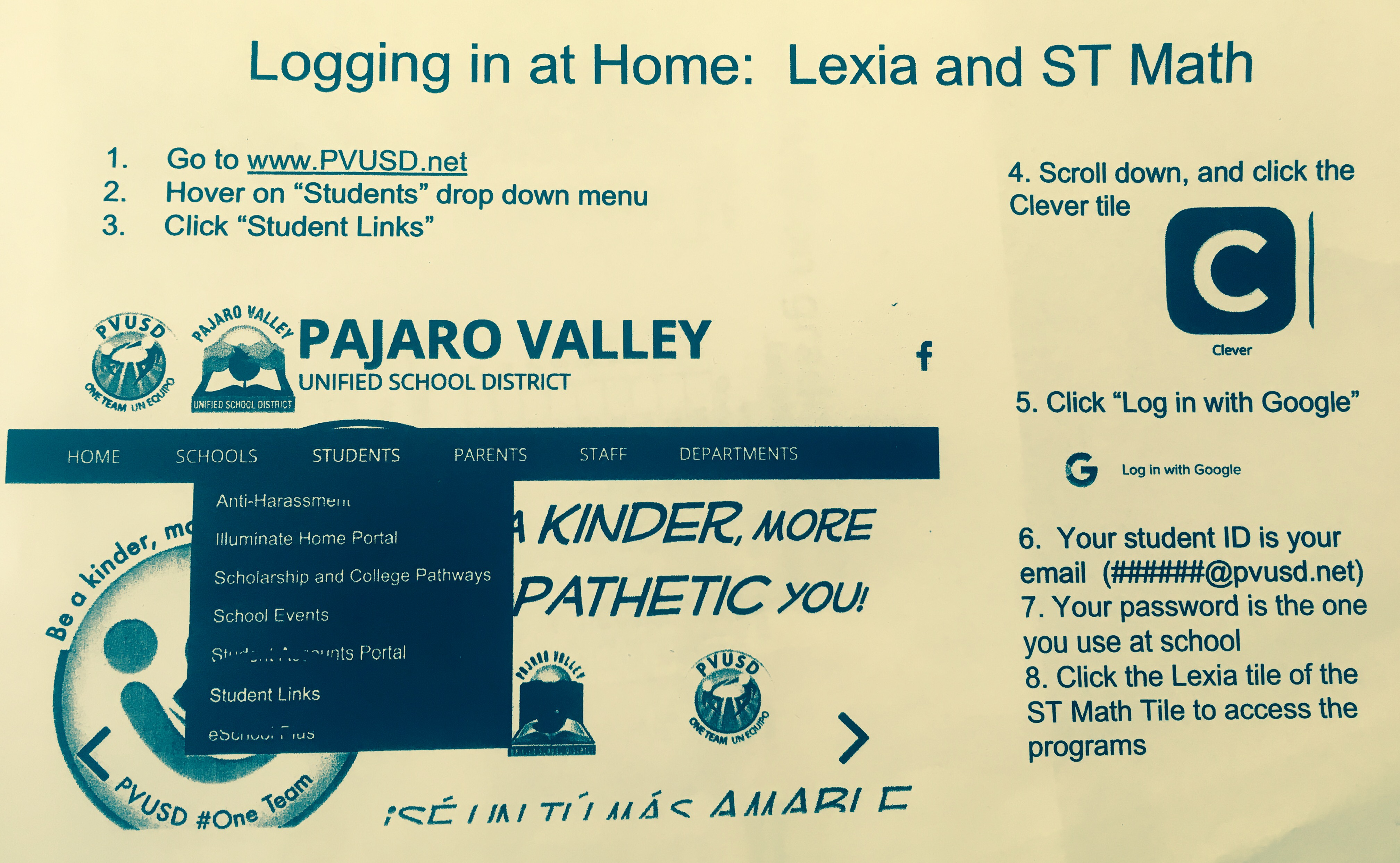 Logging in at home: ST Math and Lexia