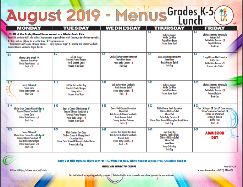 June Cafeteria Menu For Lunch
