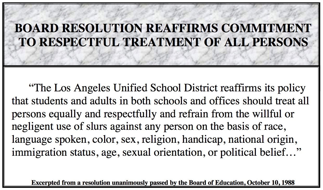 Resolution - Respectful Treatment of All Persons