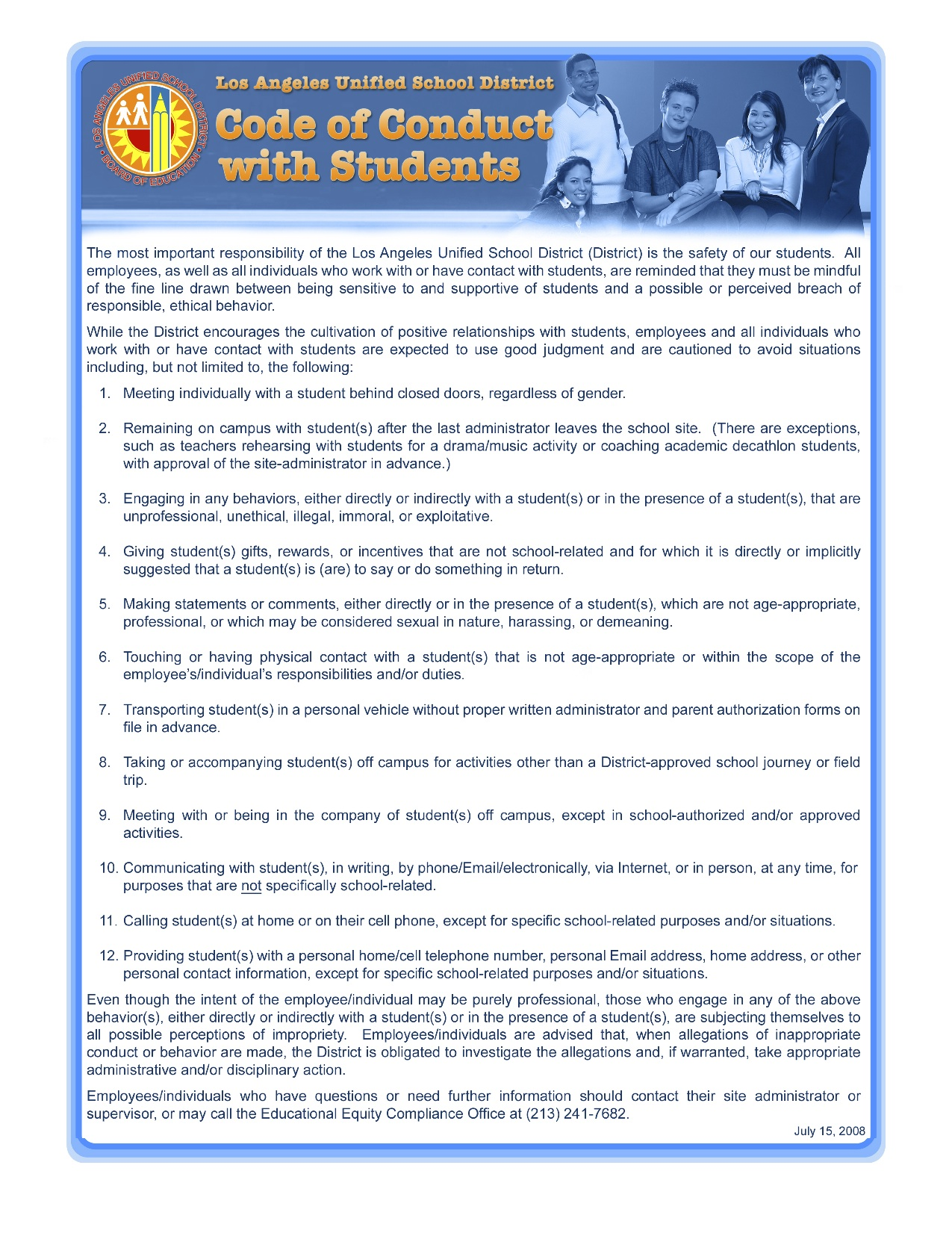 Code of Conduct with Students