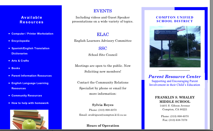 Parent Center brochure