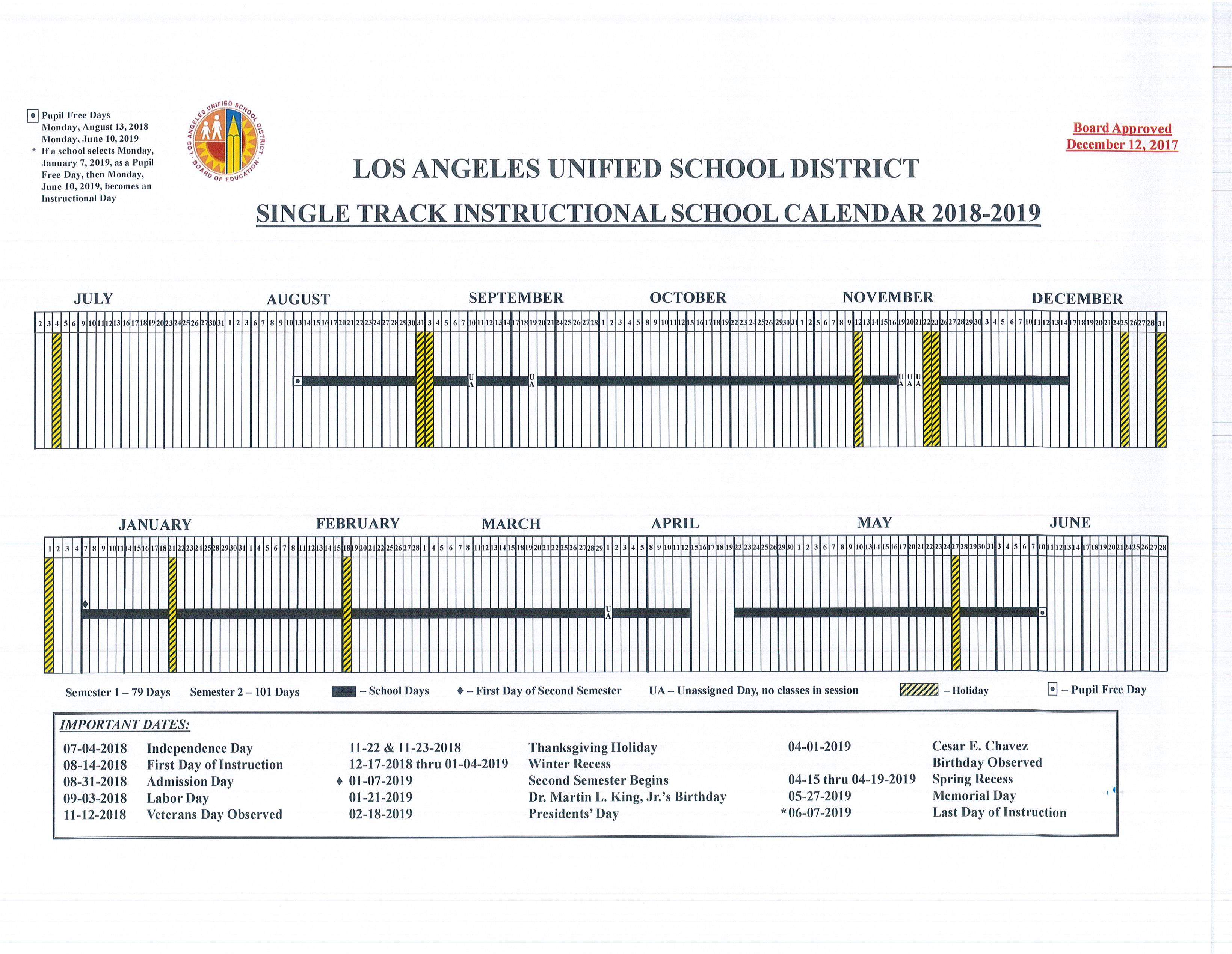 Instructional School Calendar 2018-2019