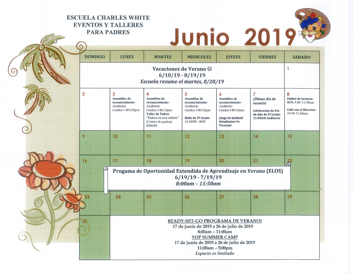 June Parent Calendar SPA