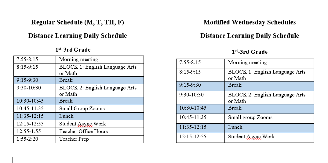 Distance Learning Schedule for grades 1-3