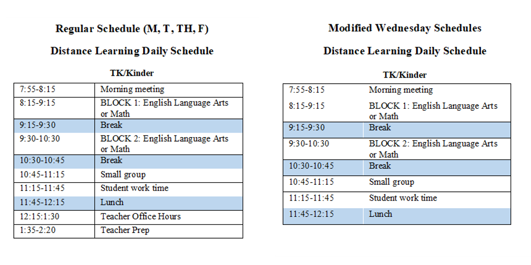 Distance Learning Schedule K