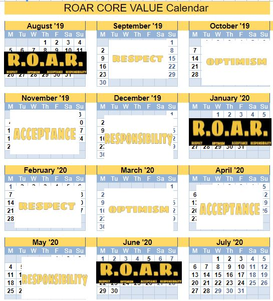 ROAR- CORE VALUE MONTHLT CALENDAR
