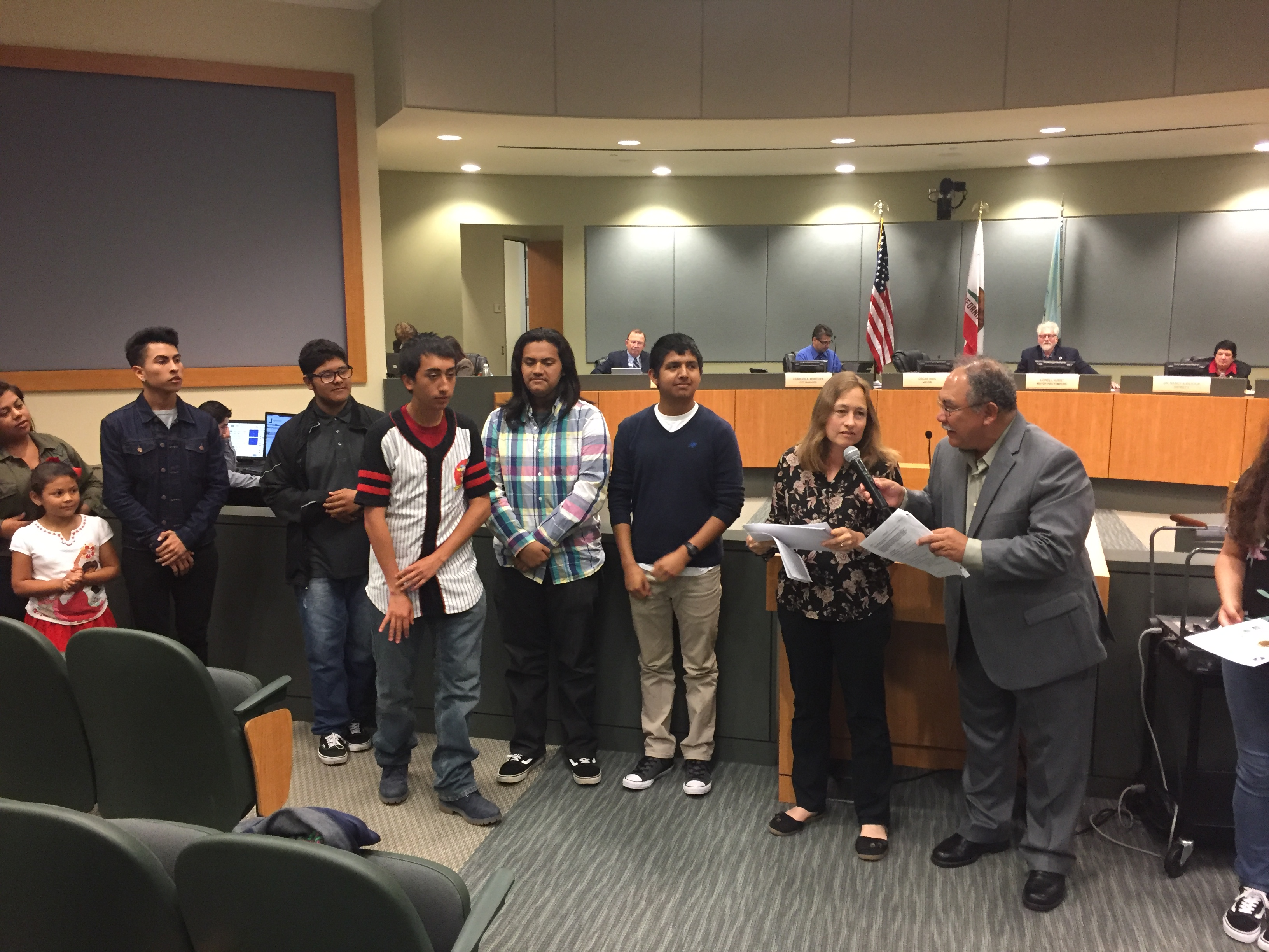 VA Students at the City of Watsonville's Council meeting