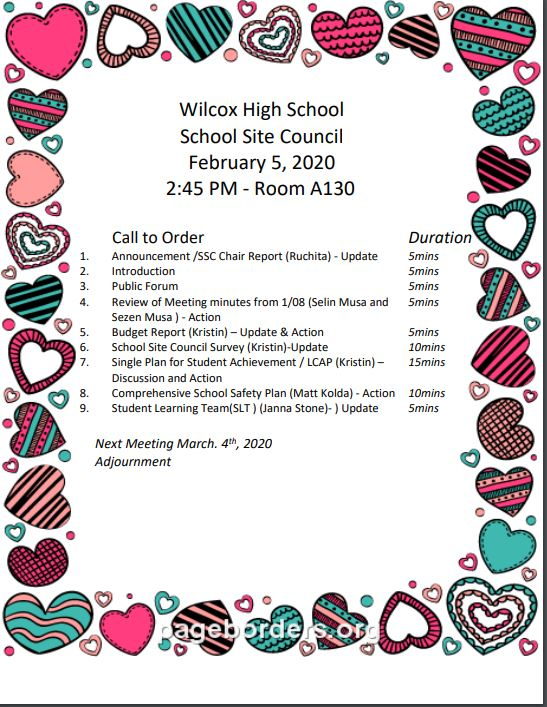 School Site Council February 5, 2020, 2:45 pm - Room A130