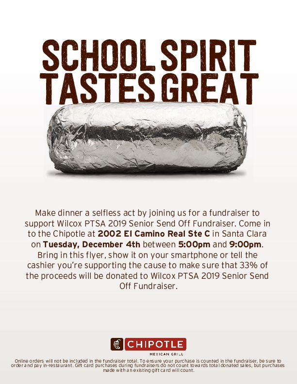Chipotle Fundraiser December 4th 5-9PM