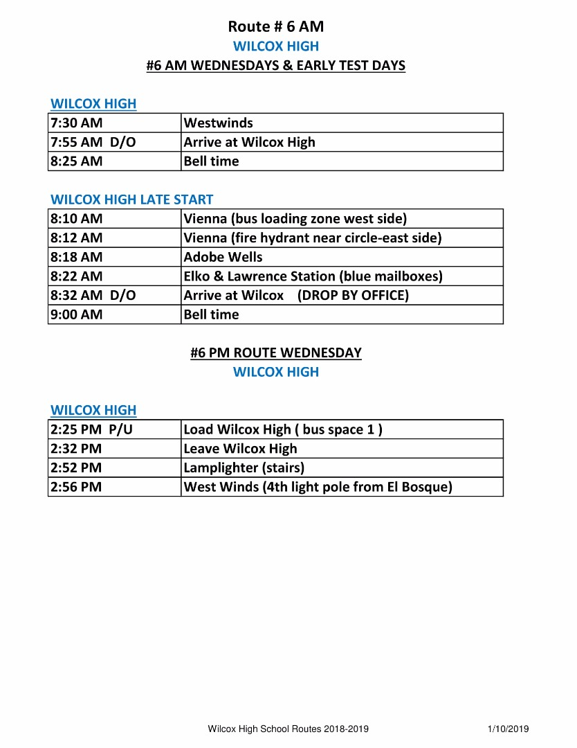 6 am schedule Wednesday and early test days