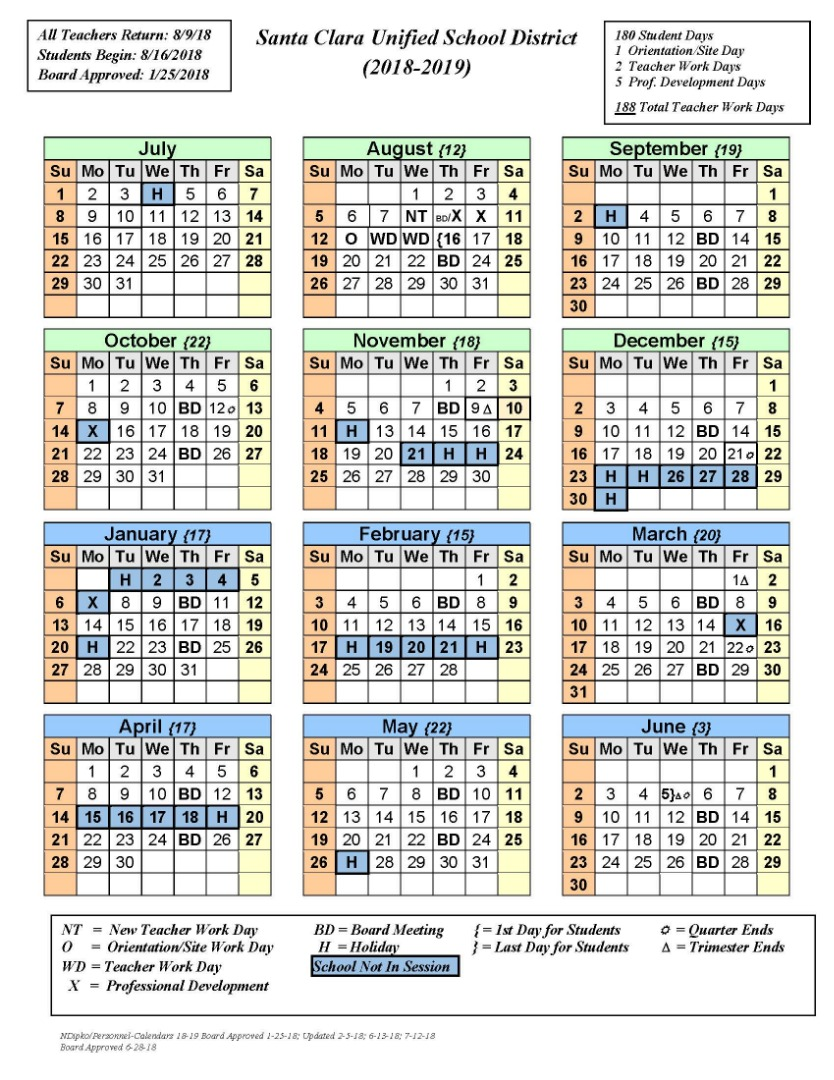 District Calender for 2018-2019 School Year
