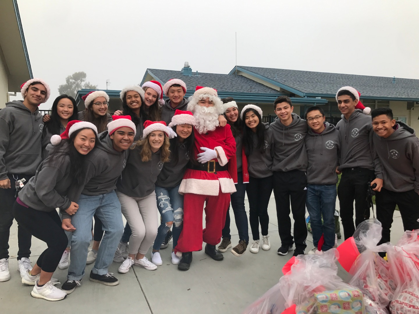 Students posing for toy drive photo