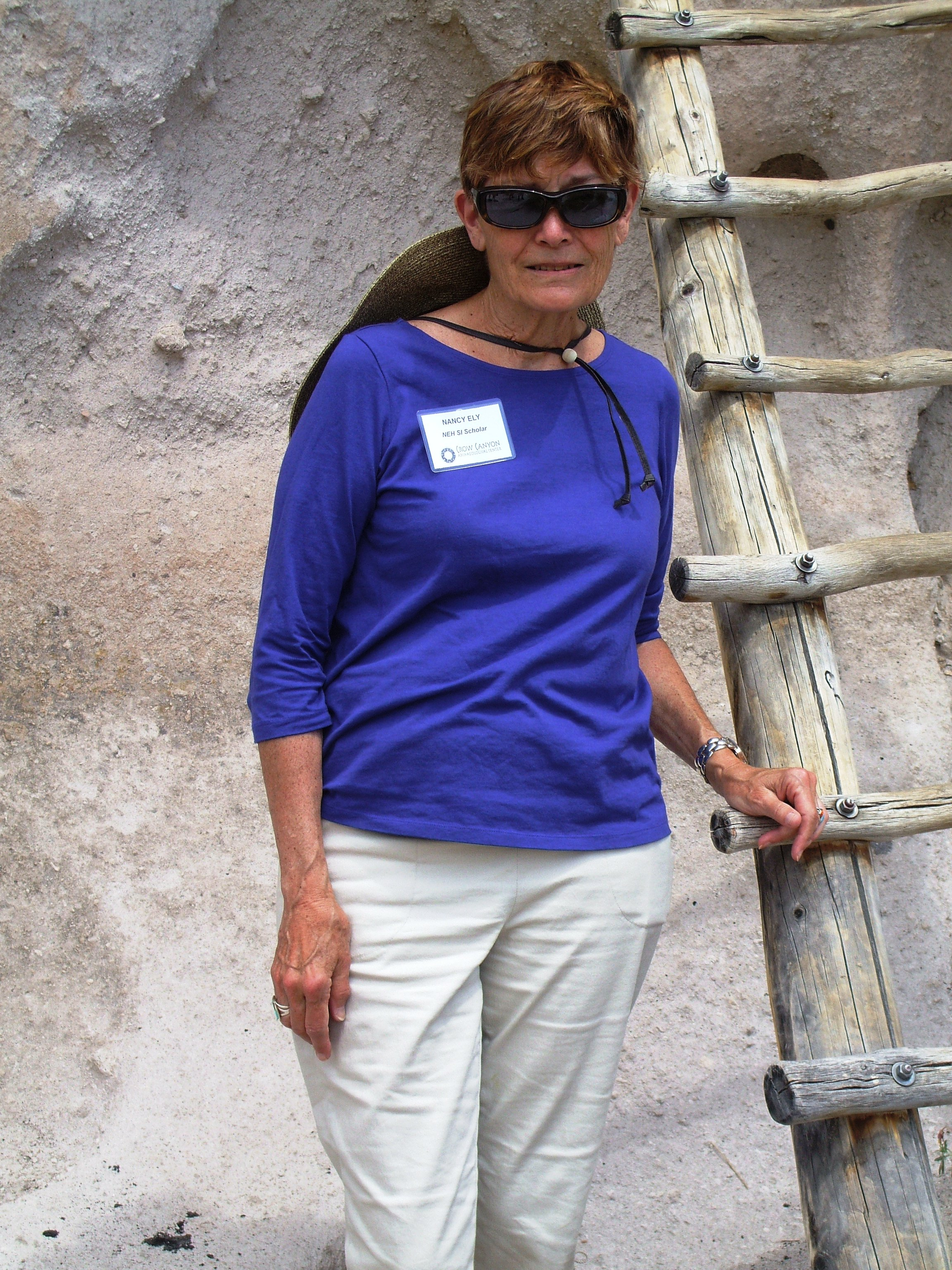 Ms. Ely at Bandelier Canyon archaeological site
