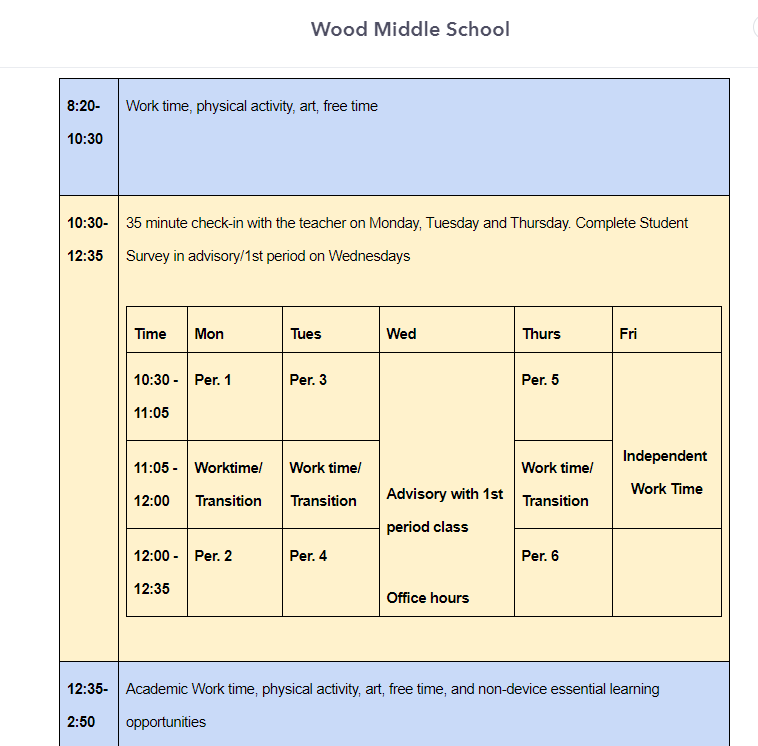 Wood's Long Distance Learning Schedule