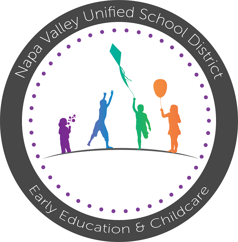 childcare logo, grey circle with color silouhettes of kids playing