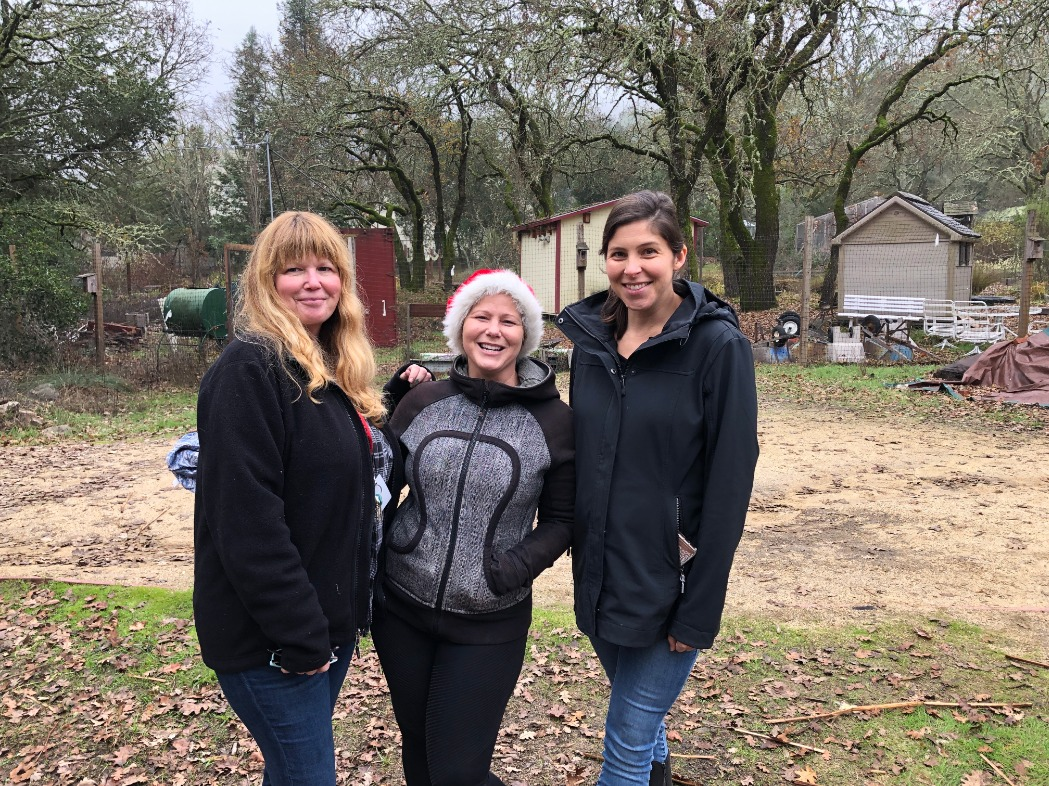 Ms. Brucker, Ms. Habarakada and Mrs. Wise in the Nature Area