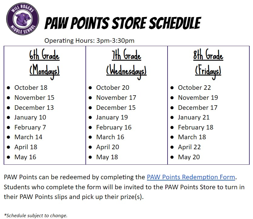 PAW Points Store Schedule