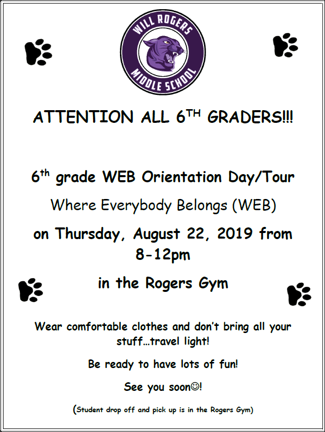 6th grade WEB orientation day flyer
