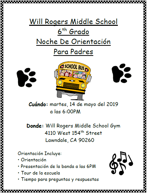Parent orientation night flyer