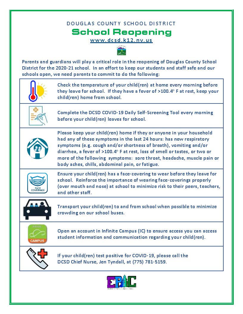 Parent Commitment for students and staff safety.
