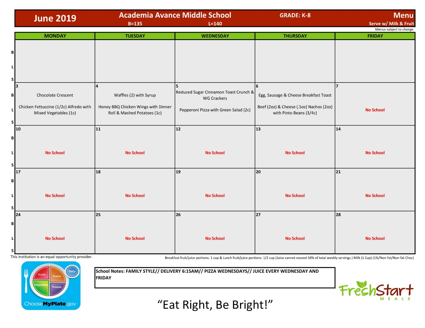 Lunch Menu Middle School for June 2019