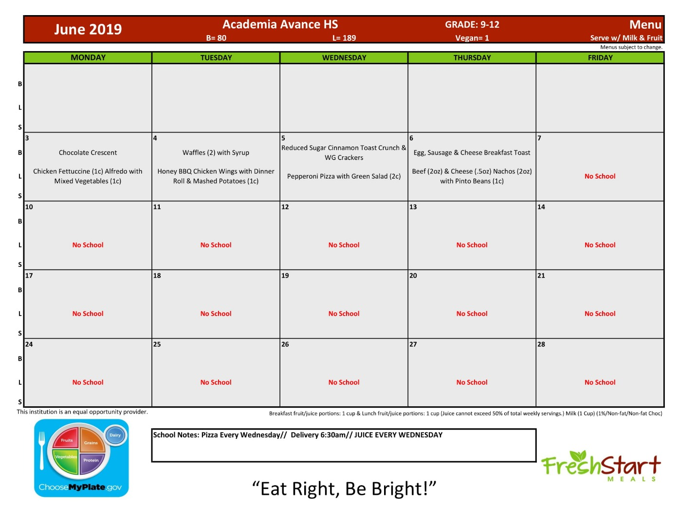 Lunch Menu for June 2019