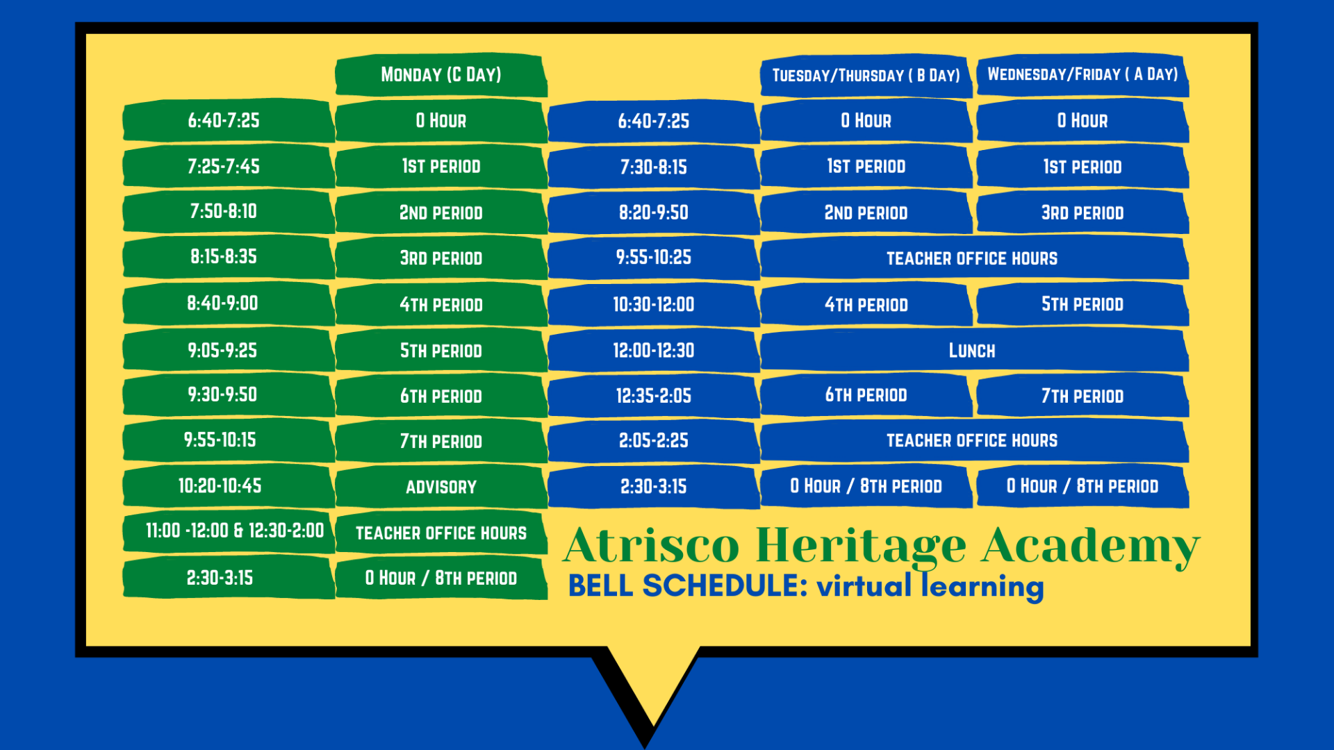 Bell Schedule for Virtual Learning