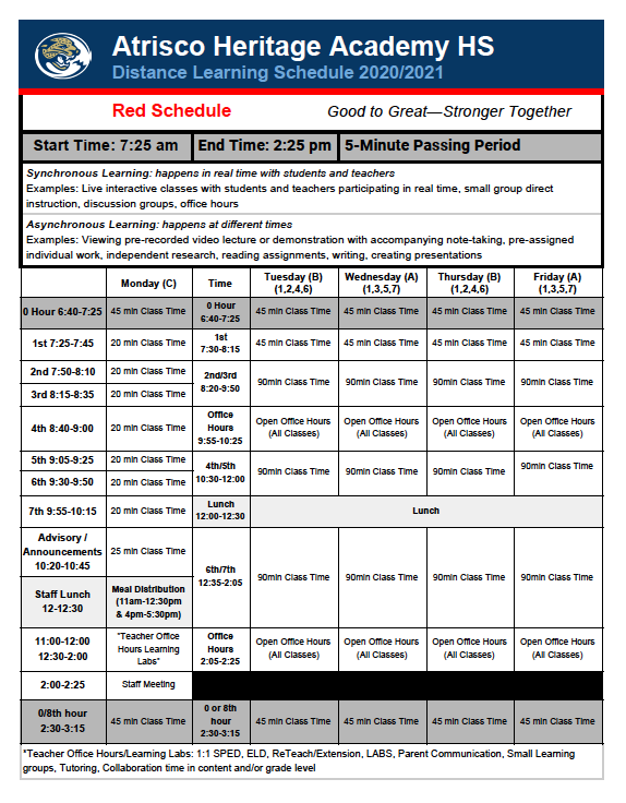 RED BELL SCHEDULE