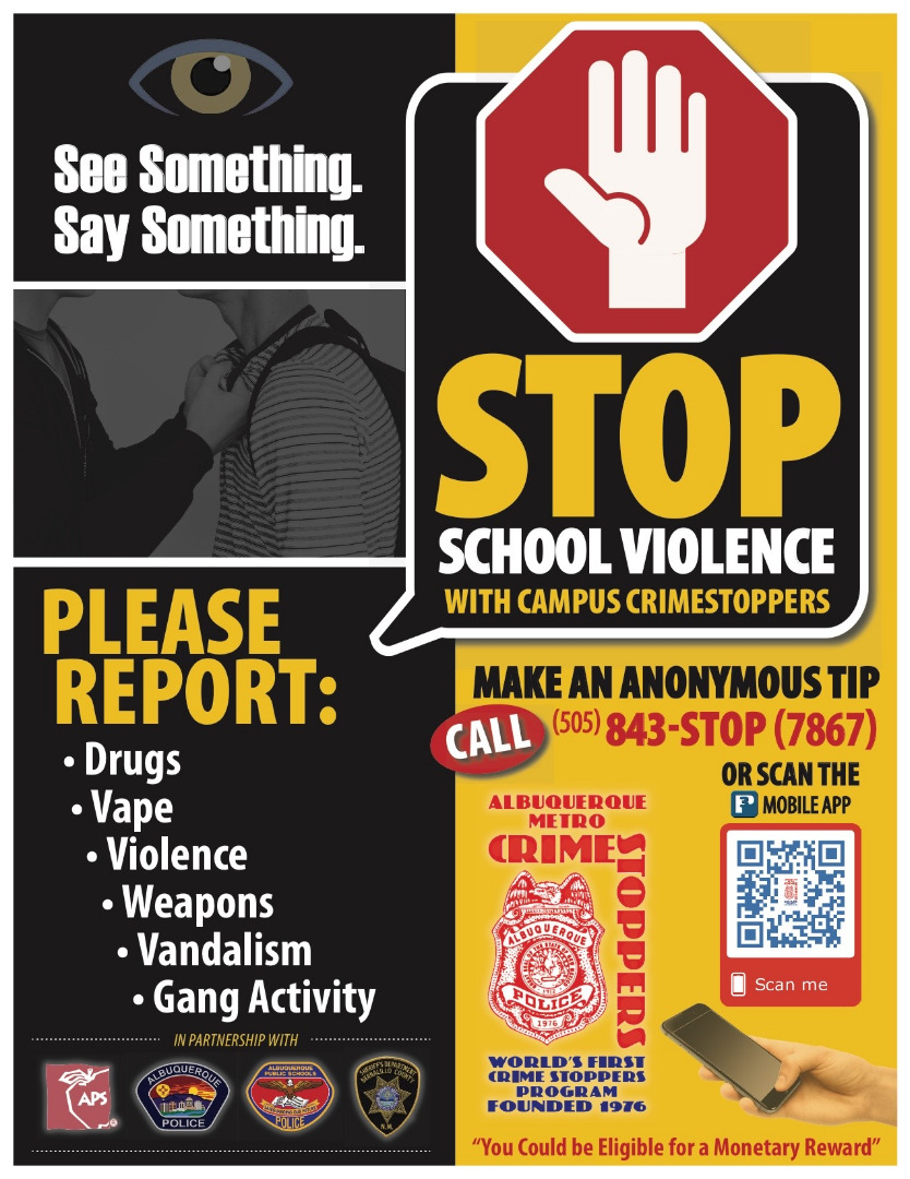 Campus Crime Stoppers Tip Line Call 505-843-7867