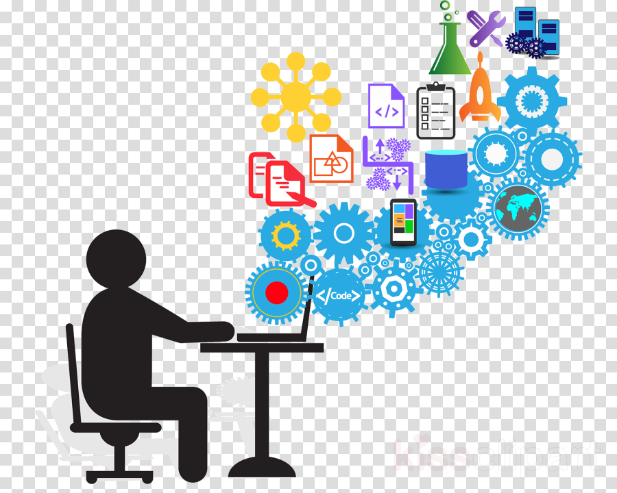 Student at desk with graphics of gears and academic symbols