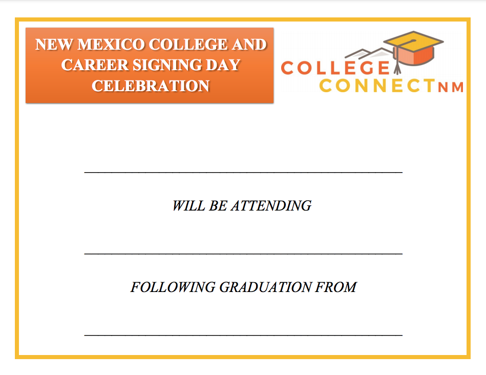 Blank sign detailing the college student will be attending
