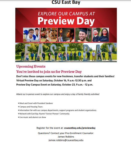 CSU East Bay Preview Flyer