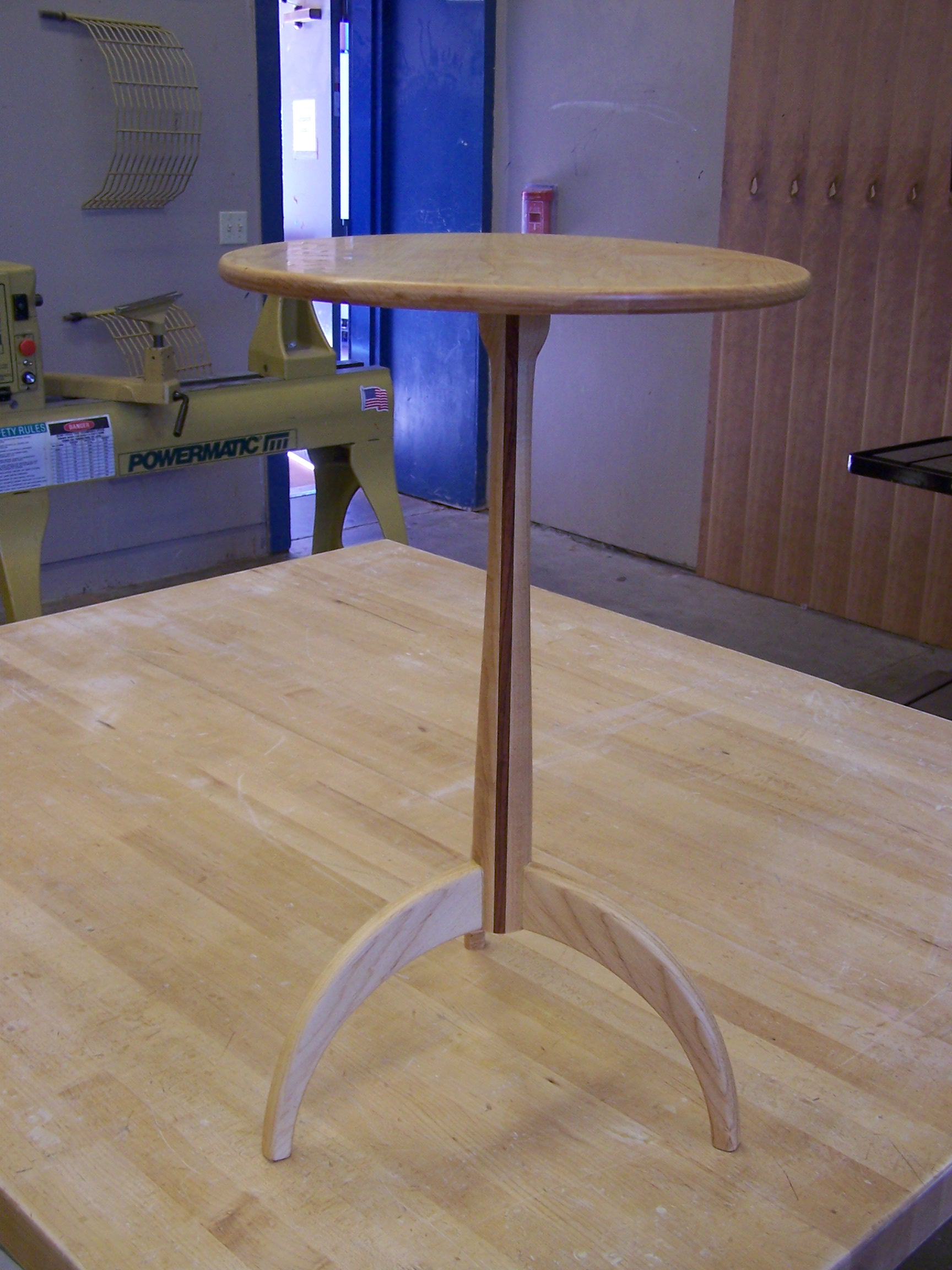 Maple Shaker candlestand with purpleheart vertical strip