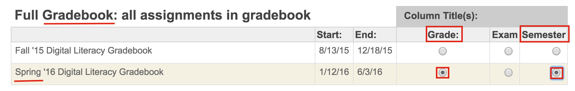 Single Gradebook Grade Submission