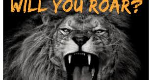image is an lion roaring