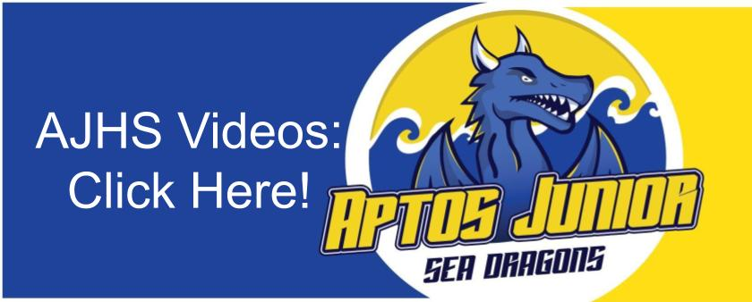 yellow and blue icon with sea dragon logo says click here for a j h s videos